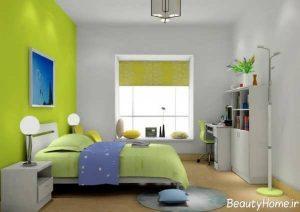 دکوراسیون سبز اتاق خواب پسرانه