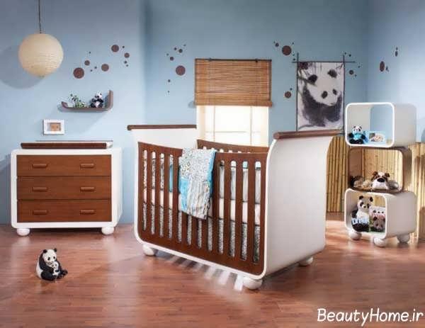 دکوراسیون قهوه ای اتاق نوزاد