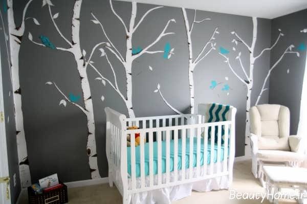 نقاشی روی دیوار اتاق نوزاد