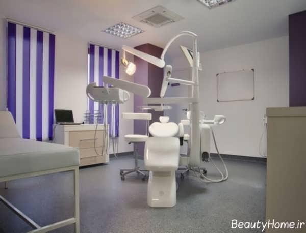 دکوراسیون بنفش و شیک مطب دندانپزشکی