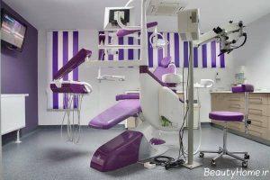 دکوراسیون بنفش مطب دندانپزشکی
