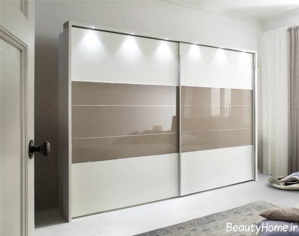 مدل کمد دیواری های گلاس سفید و قهوه ای