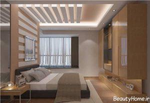 کناف سقف اتاق خواب با طرح شیک