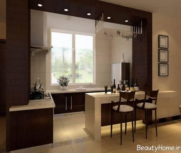 طراحی آشپزخانه کرم و قهوه ای