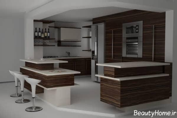طراحی دکوراسیون قهوه ای آشپزخانه
