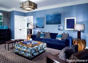 رنگ آبی برای دیوار پذیرایی