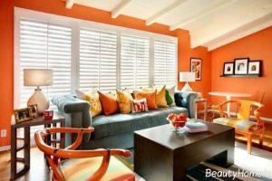 دکوراسیون نارنجی و قرمز سالن پذیرایی