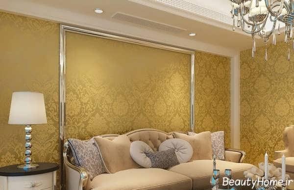 رنگ طلایی دیوار اتاق پذیرایی