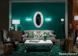 رنگ سبز تیره سالن پذیرایی