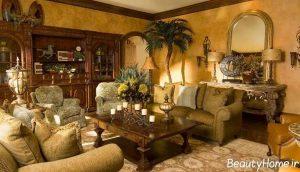رنگ اتاق پذیرایی سنتی و کلاسیک