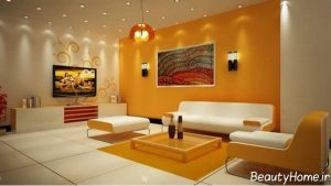 دکوراسیون نارنجی سالن پذیرایی