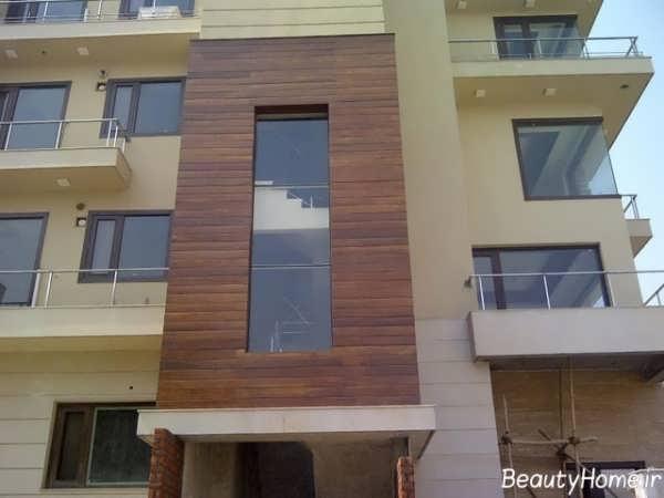 نما چوبی دو رنگ ساختمان