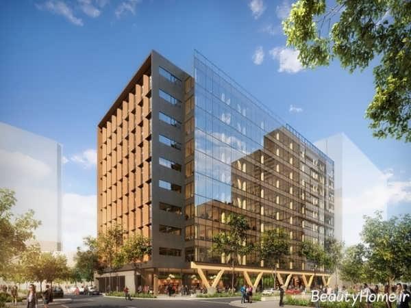 نمای چوبی ساختمان چند طبقه