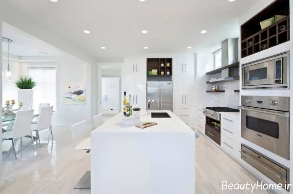دکوراسیون زیبا و متفاوت آشپزخانه سفید