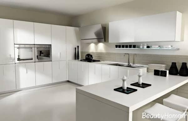 دکوراسیون سفید و مشکی آشپزخانه