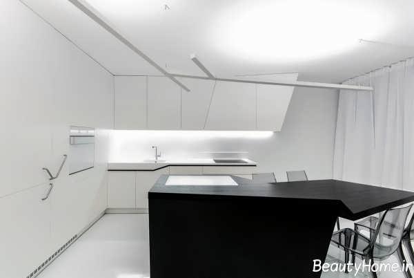 دکوراسیون آشپزخانه با رنگ سفید و مشکی