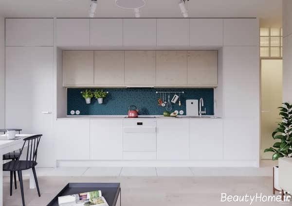 دکوراسیون شیک و متفاوت آشپزخانه سفید