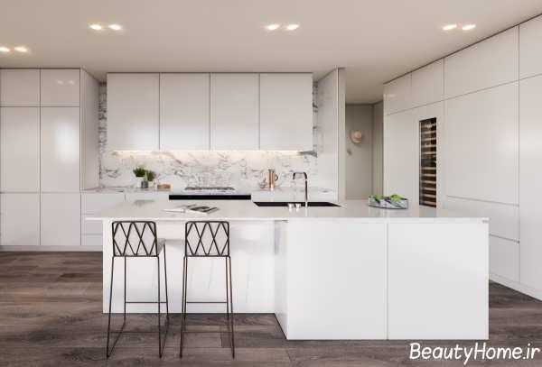 آشپزخانه مدرن و شیک سفید