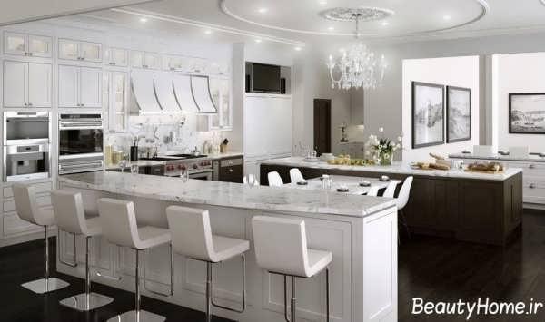 آشپزخانه سفید و شیک