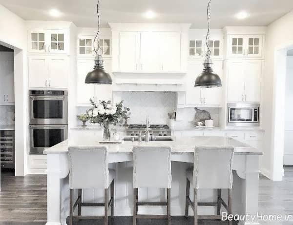 آشپزخانه شیک و زیبا سفید