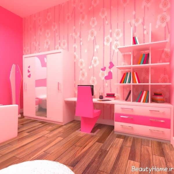 طراحی دکوراسیون صورتی اتاق خواب دخترانه