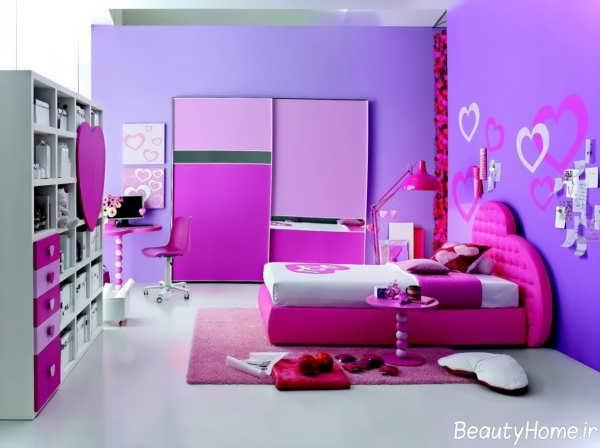 دکوراسیون بنفش و زیبا اتاق خواب دخترانه