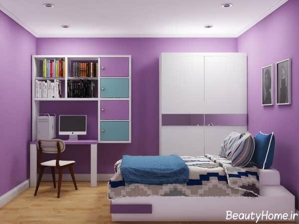 طراحی دکوراسیون بنفش اتاق خواب دخترانه