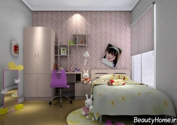 دکوراسیون داخلی اتاق خواب بچه گانه دخترانه