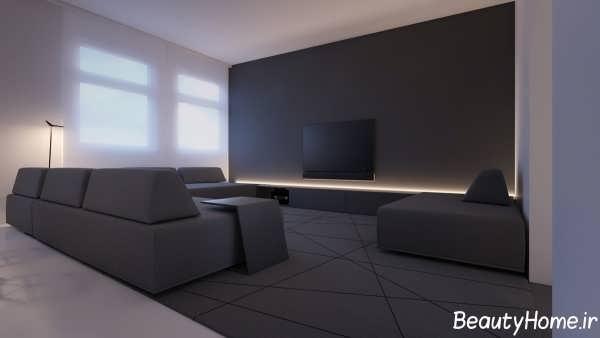 دکوراسیون سیاه و سفید اتاق پذیرایی