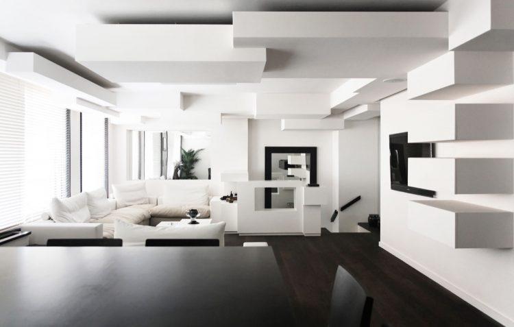 طراحی دکوراسیون پذیرایی سیاه و سفید