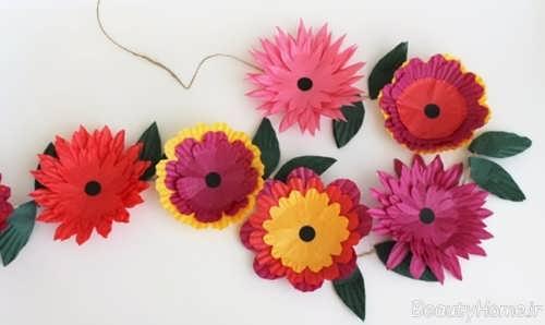 تزیین اتاق کودک با گل های کاغذی