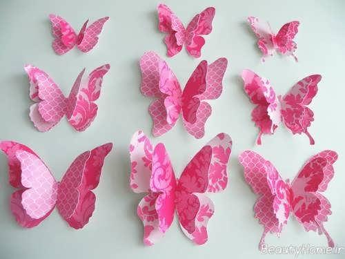تزیین کردن دیوار اتاق کودک با پروانه های کاغذی