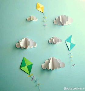 تزیین شیک و جالب اتاق کودک با کاغذ رنگی
