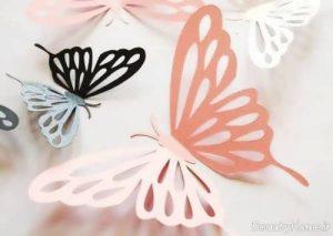 تزیین اتاق کودک با پروانه های کاغذی
