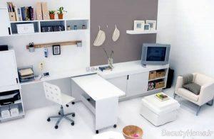 دکوراسیون سفید دفتر کار کوچک