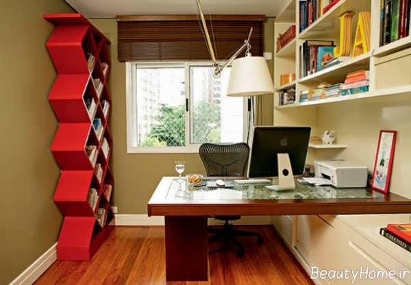 طراحی دکوراسیون دفتر کار کوچک شیک و زیبا