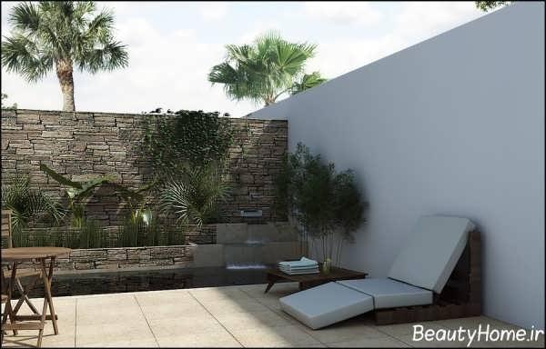 نمای ساده و جذاب دیوار حیاط