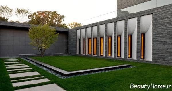 نمای زیبا و متفاوت دیوار حیاط