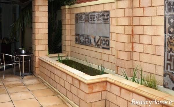 نمای دیوار حیاط با طراحی جالب و کاربردی