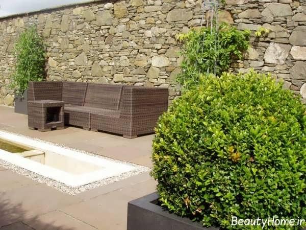 طراحی زیبا و شیک نمای دیوار حیاط