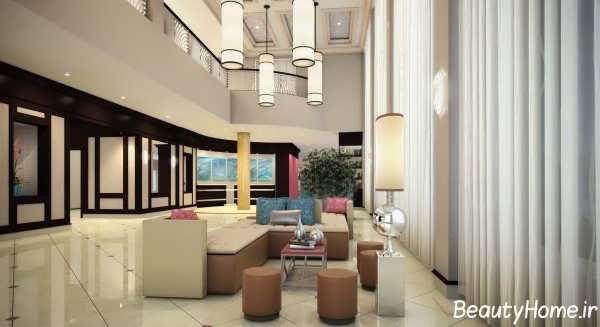 دکوراسیون داخلی زیبا و شیک لابی هتل
