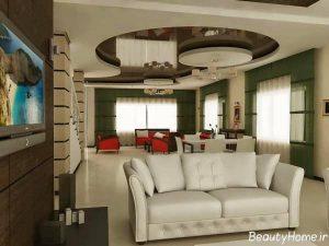 مدل کناف سقف سالن پذیرایی شیک