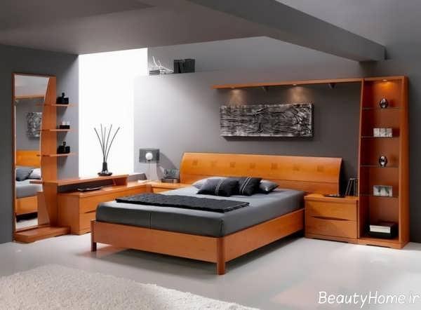 دکوراسیون خاکستری و نارنجی اتاق خواب