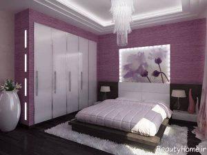 طراحی دکوراسیون داخلی بنفش اتاق خواب