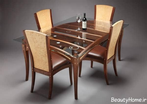 میز ناهار خوری چوبی 4 نفره