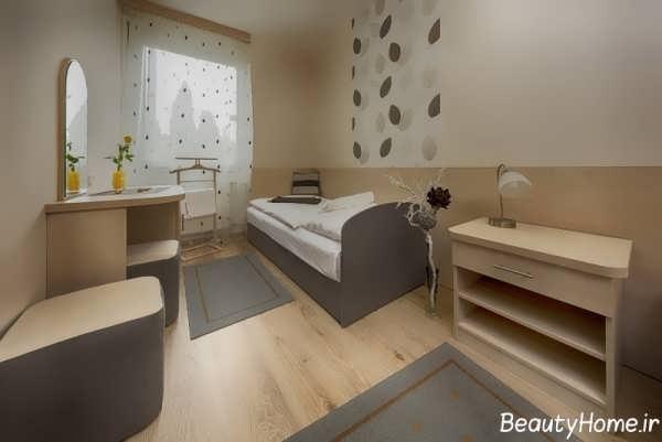 دکوراسیون خاکستری اتاق خواب کوچک