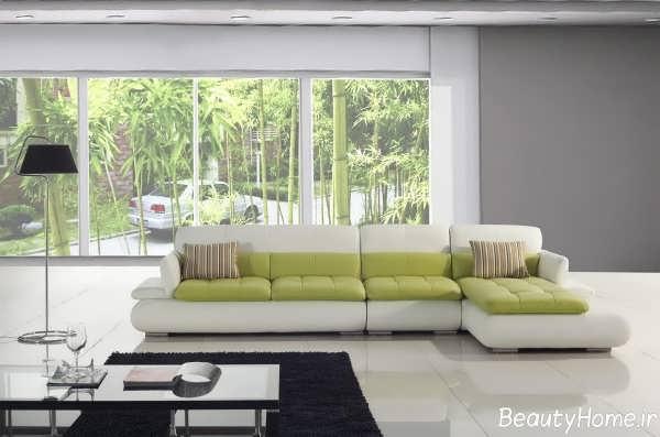 مدل مبل سفید و سبز راحتی