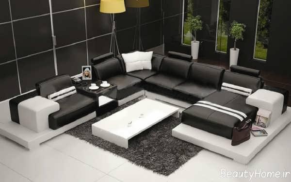 مدل مبل راحتی سفید و سیاه