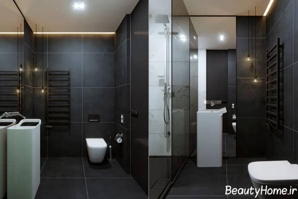 طراحی داخلی سرویس بهداشتی با رنگ تیره