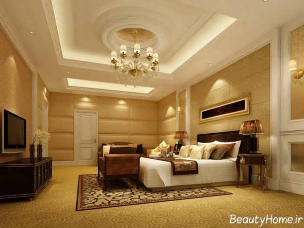 دکوراسیون طلایی و قهوه ای اتاق خواب